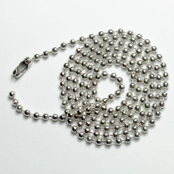 halsketting van zilverkleurig kogelketting rvs roestvrij staal nikkel vrij